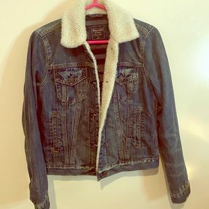 Abercrombie Denim Jacket with Sherpa Collar